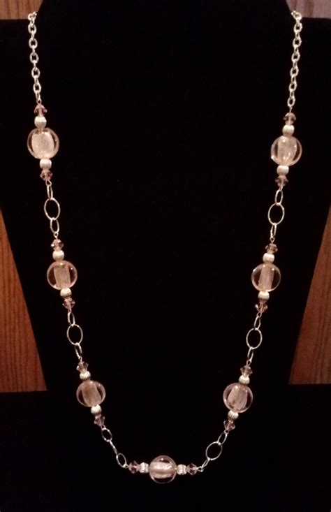 Handmade Beaded Necklace - handmade beaded necklace with pink silver foil and silver