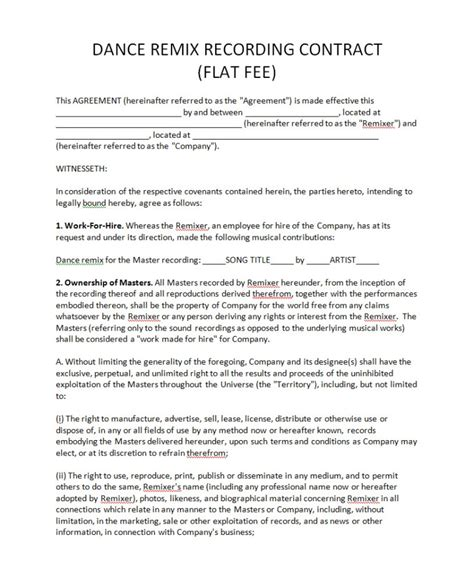 Recording Contract Template Record Label Contract Template