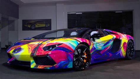 rainbow lamborghini lamborghini aventador art car features every color of the