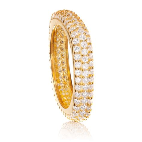 ingenious gold plated thin square pave stacking ring with