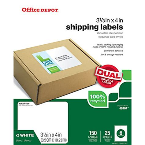 office depot templates for address labels office depot brand 100percent recycled mailing labels 3 38
