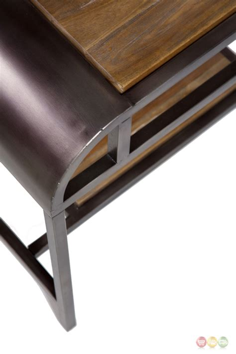 acacia wood end table vail casual acacia wood end table with black metal