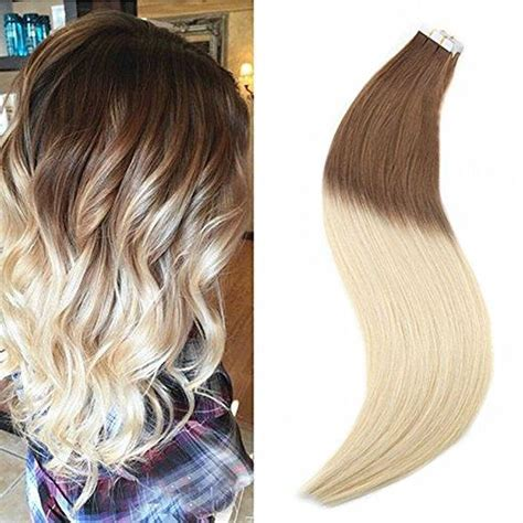uniwigs halo wavy medium brown hair extentions tape in ombre medium brown to blonde human hair extensions
