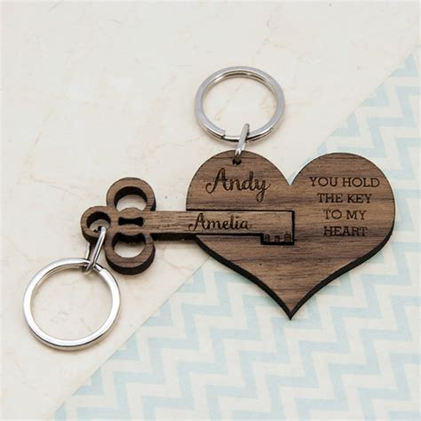 Personalized Couple's Wooden Anniversary Key Chain