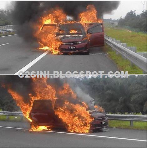 Cermin Belakang Kereta Exora pelik api keluar dari belakang kereta exora lalu terbakar dan meletup info gugel