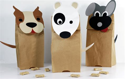 Crafts Using Paper Bags - adorable doggie paper bag puppets