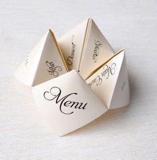 Origami Menu - pr 233 senter le menu du mariage avec un pliage en origami