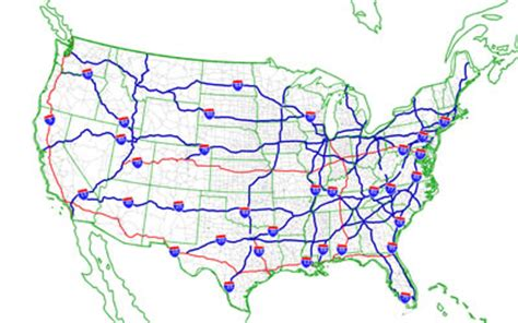 us map with states and major highways maps us map freeway
