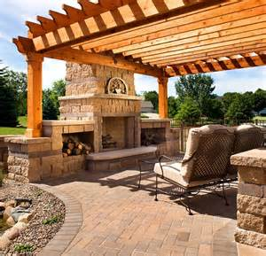 Pergola With Fireplace by Pergola Pavers And Fireplace John S Landscaping