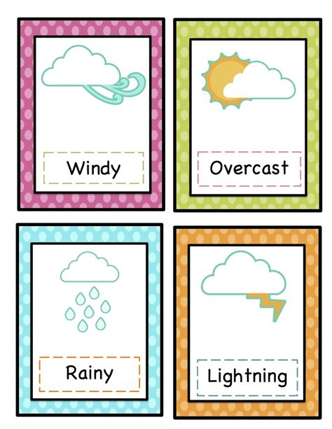 free printable cards for kindergarten preschool printables weather cards printable clipart