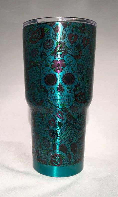 pattern yeti cup rambler powder coated hydro dippped sugar skull