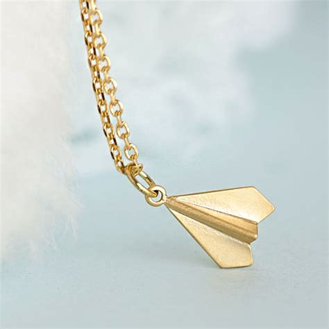 gold paper airplane necklace origami aeroplane charm