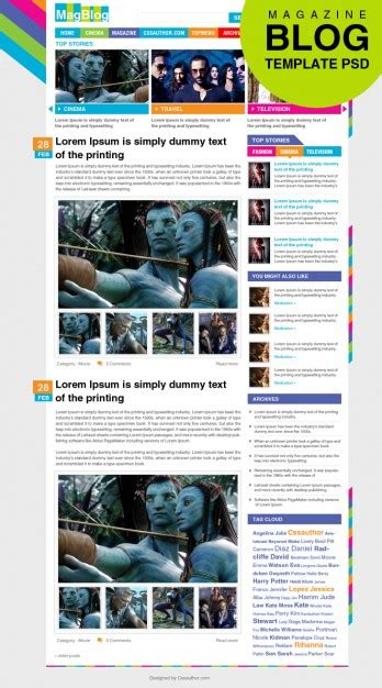 editable templates for blogger premium magazine blog template psd psd file free download