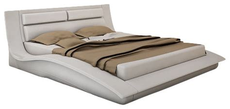 wave platform bed j m wave white leather lacquer queen size platform bed modern platform beds by