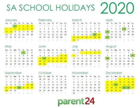 sa school terms  public holidays    africa wild