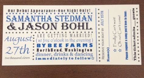 custom concert ticket wedding invitation concert poster