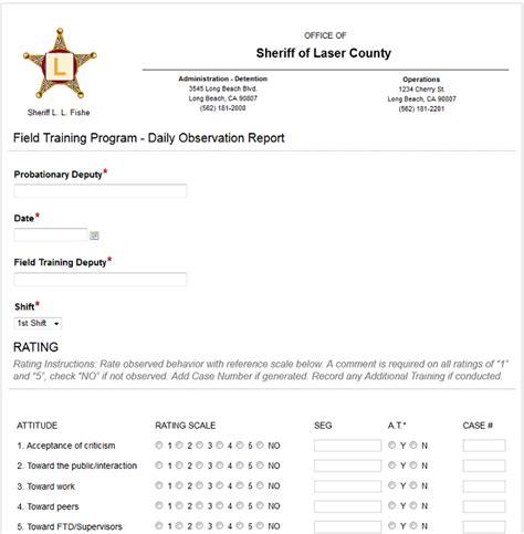 observation report template observation report
