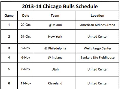 printable bulls schedule chicago bulls printable schedule for 2013 14
