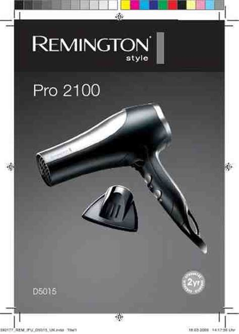 Hair Dryer Manual remington pro 2100 d5015 hair dryer manual for