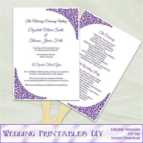 Purple Wedding Fan Programs Template   Diy Printable
