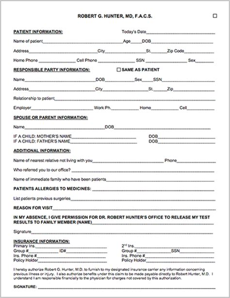 patient forms robert g hunter md facs