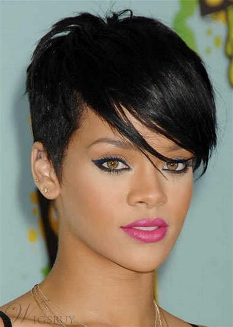 rihanna short straight casual pixie hairstyle black lace wig hairstyles hairstyles