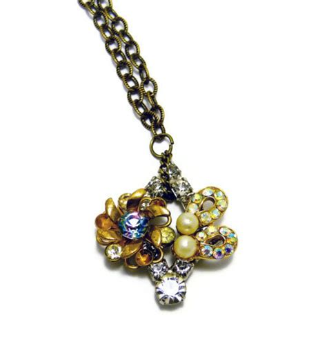 vintage findings for jewelry upcycled vintage brooch jewelry findings necklace