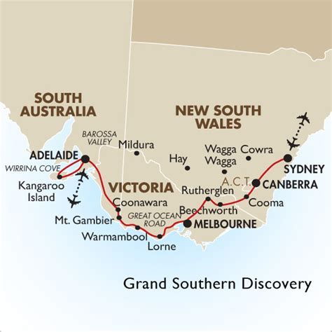 southern australia map grand southern discovery sydney to melbourne goway travel