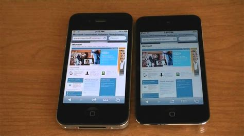 iphone 4s vs ipod touch 4g wifi web browser speed test