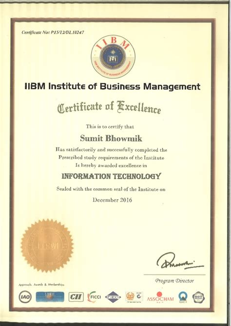 1 Year Mba In Usa Course by Iibm Executive Mba Course Completion Certificate