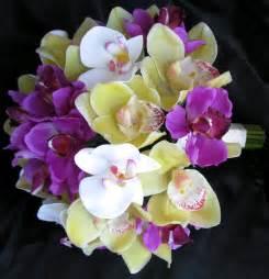 orchid bouquet plum purple bouquets debbiecoflowers silk wedding