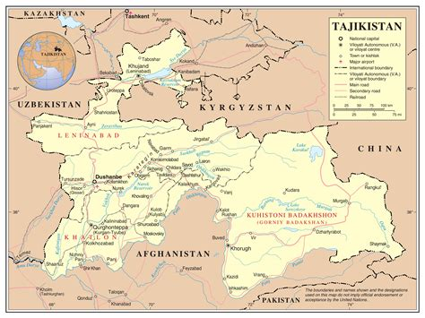 tajikistan map maps of tajikistan detailed map of tajikistan in tourist map of tajikistan road