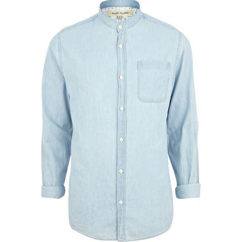 Light Denim Shirt by River Island Light Wash Grandad Collar Denim Shirt In Blue