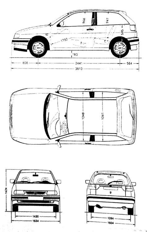 1993 Seat Ibiza 6K Hatchback blueprints free - Outlines