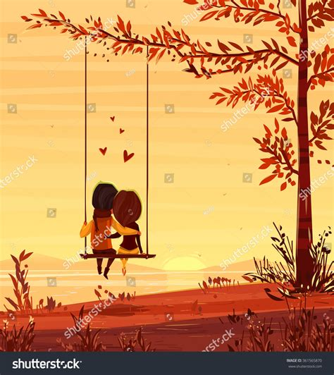 lovers swing two lovers sitting on swing sunset stock vector 361565870
