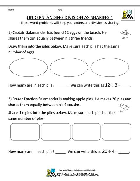 Second Grade Worksheets by Second Grade Division Worksheets