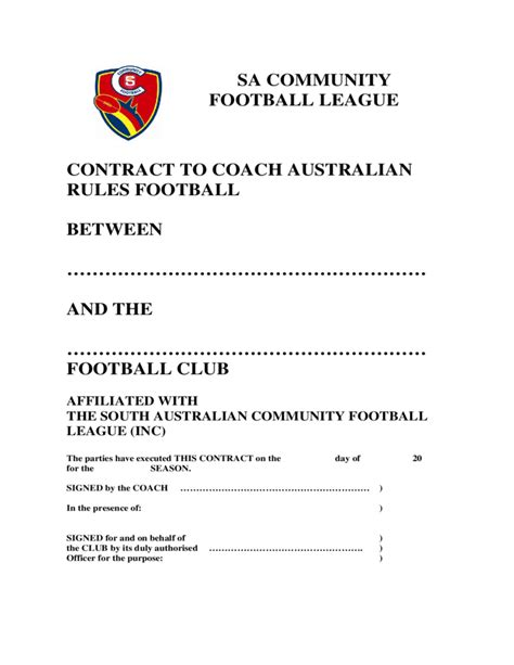 football contract template coaching contract template south australia free