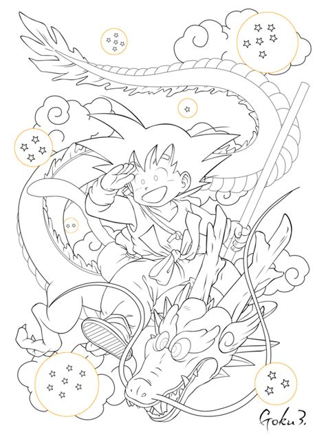dragon ball z shenron coloring pages sangoku and shenron lineart by goku003 on deviantart