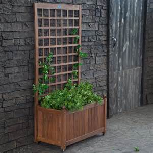 wood planter box on wheels with grid style trellis aquagarden aquaponics systems
