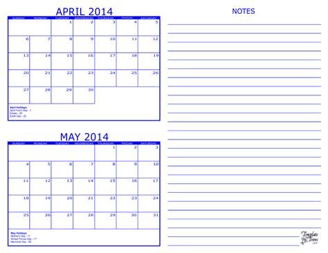 2 month calendar 2014