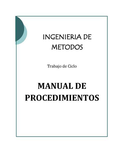 manual de procedimientos para adquisiciones calam 233 o manual de procedimientos