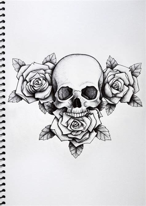 black and white skull tattoo designs white roses and skull design