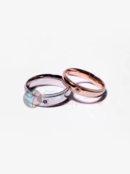 Cincin Pasangan Kawin Gold Hs09 Bahan Titanium Anti Pudar Free Ukir cincin 2031 shop