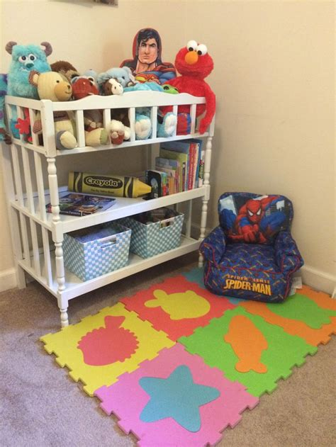 Repurposed Changing Table Reading Area Playroom Ideas Changing Table Toys