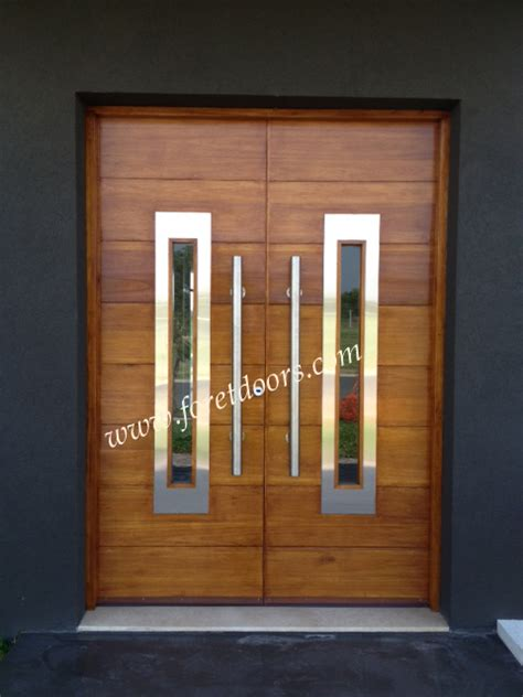 contemporary double door exterior double entry door with stainless steel inserts and bar