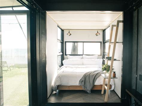 container bed from shipping container to glam accommodation