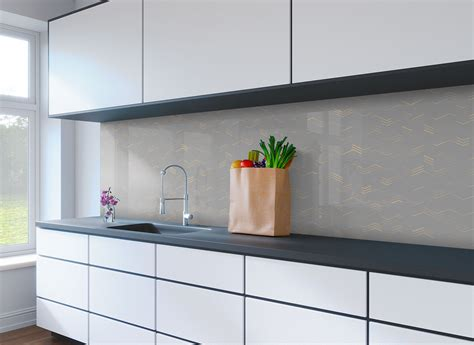 grey patterned splashback geometric dark grey lines printed splashback genie