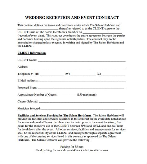 event vendor contract template event contract template 9 documents in pdf