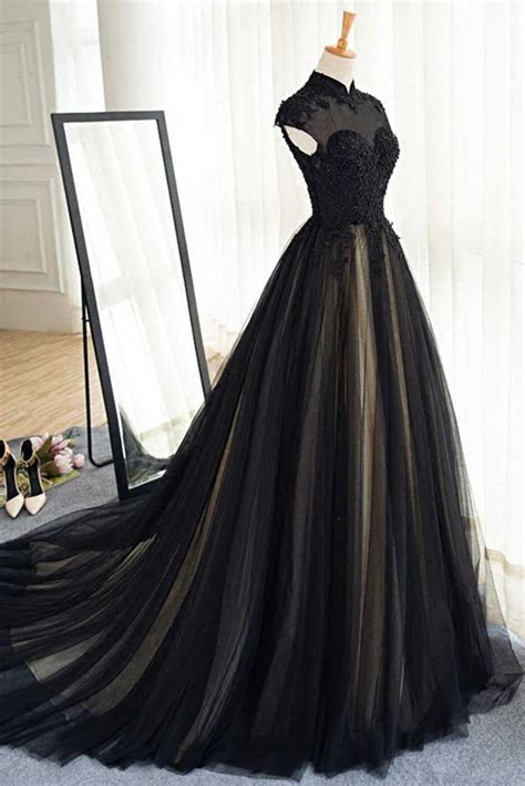 black prom dresses high neck sweepbrush train rhinestone