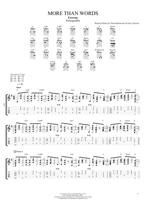 more than words more than words by extreme full score guitar pro tab